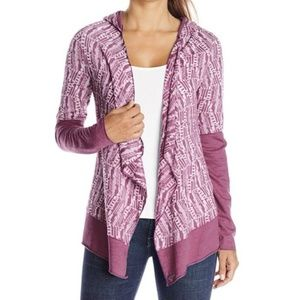 Prana Graceful Open Front Hooded Wrap Sweater Pink